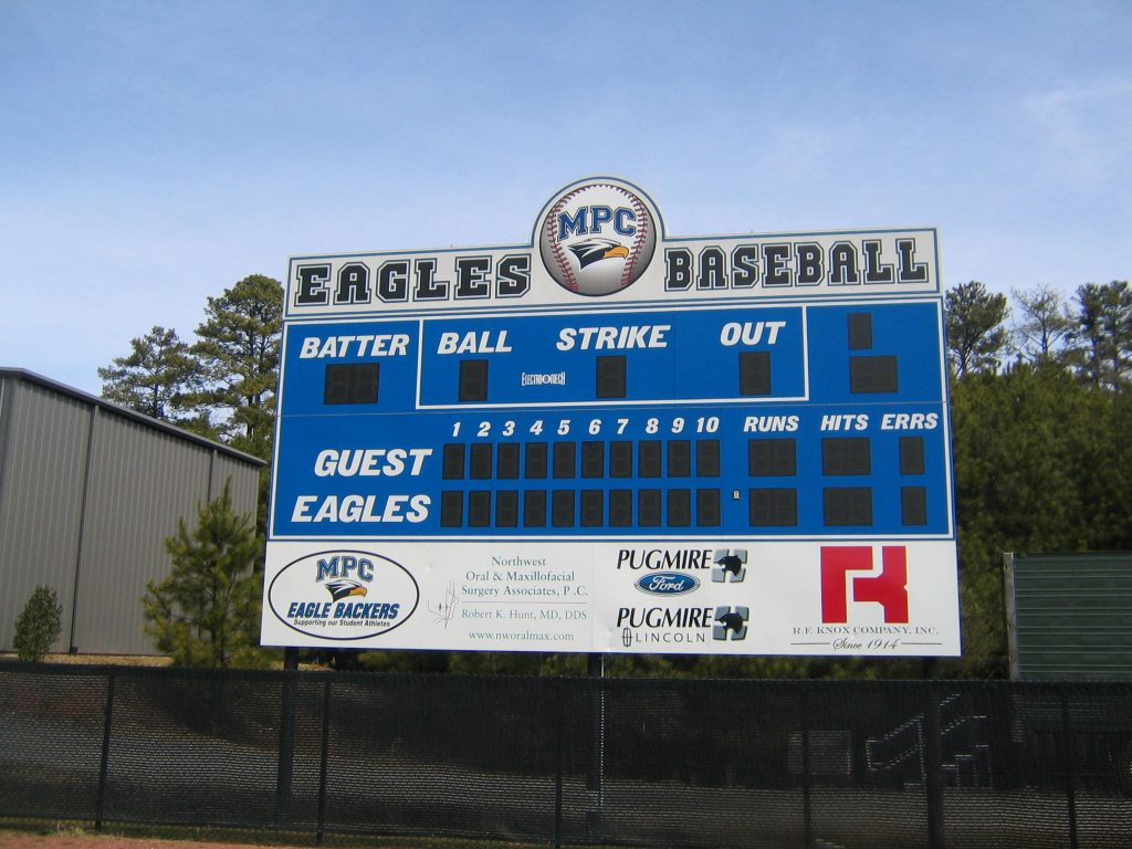 Custom vinyl graphics on Mount Paran scoreboard