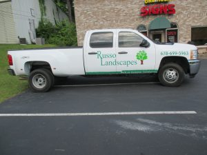 Cut vinyl vehicle graphics Russo Landscapes