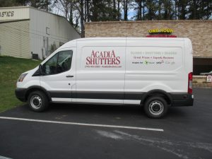 Digitally printed vehicle graphics Acadia Shutters