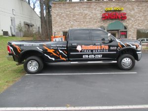 Digitally printed vehicle graphics and cut vinyl