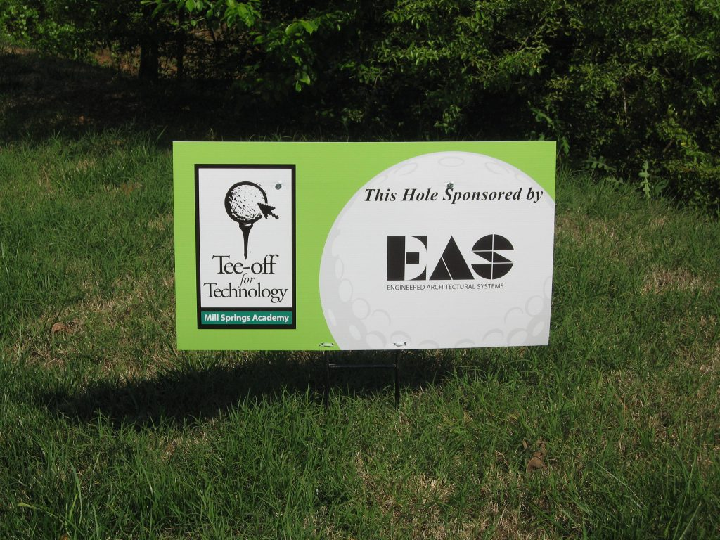 Golf tee sponsor sign