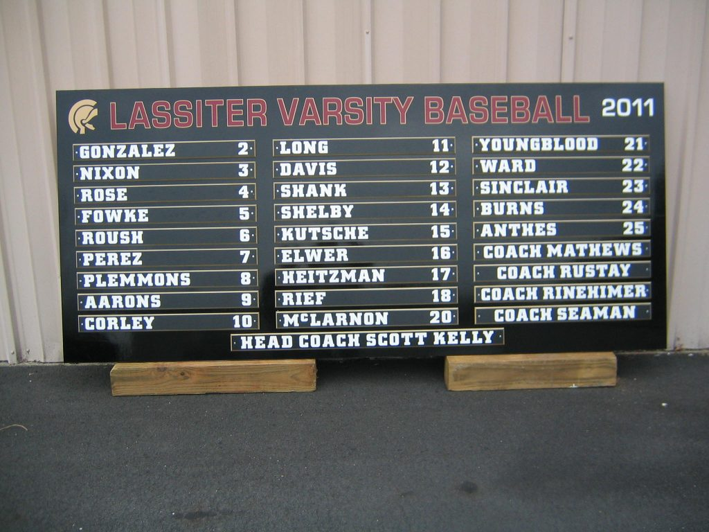 Lassiter Baseball custom Roster Board