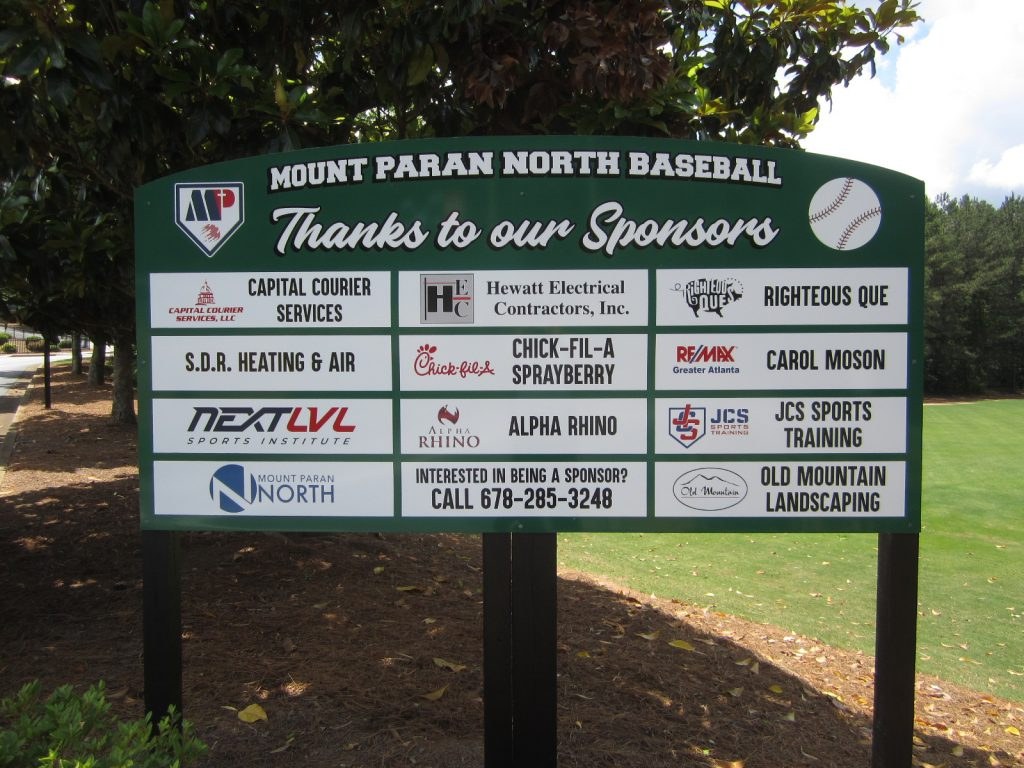 Mt Paran custom sponsor board
