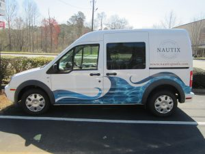 Partial van wrap Nautix Pools