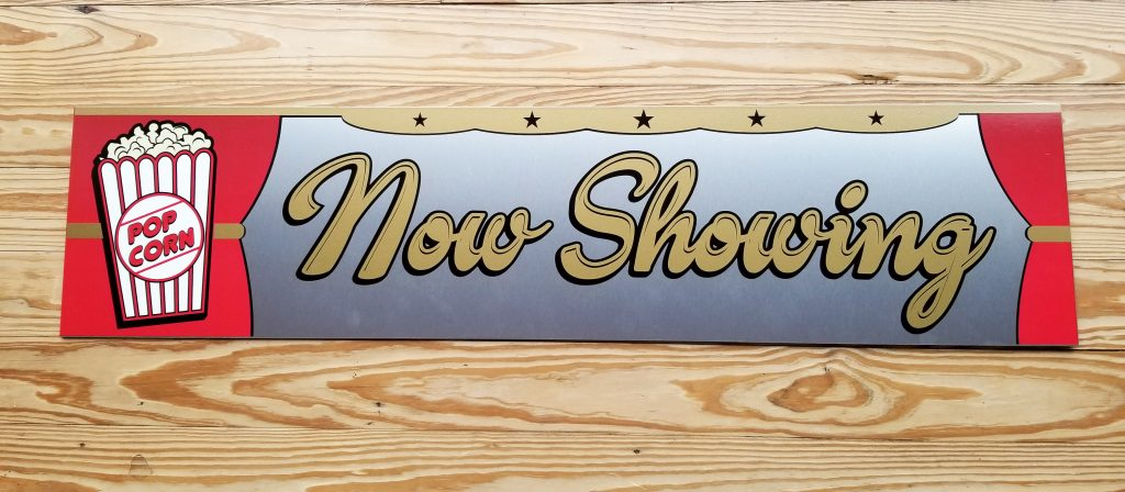 custom polymetal sign for home theater